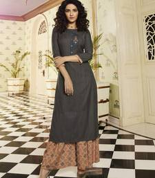 Dark-grey embroidered rayon kurtas-and-kurtis