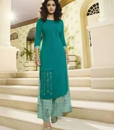 Sea-green embroidered rayon kurtas-and-kurtis