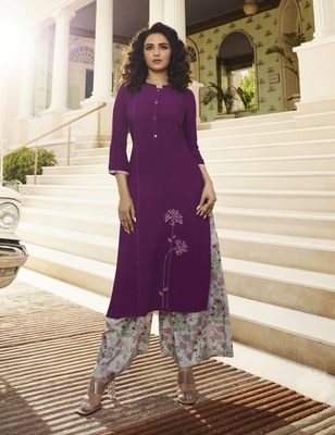 Purple Embroidered Rayon Kurtas And Kurtis