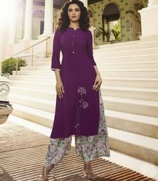 Purple embroidered rayon kurtas-and-kurtis