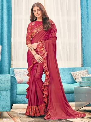 Red plain silk saree with blouse
