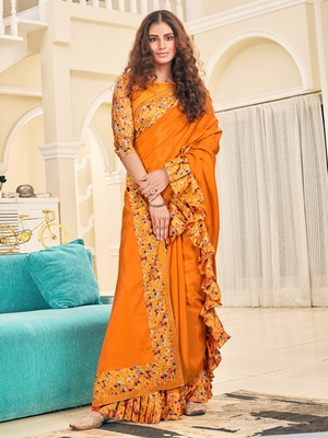 Orange plain silk saree with blouse