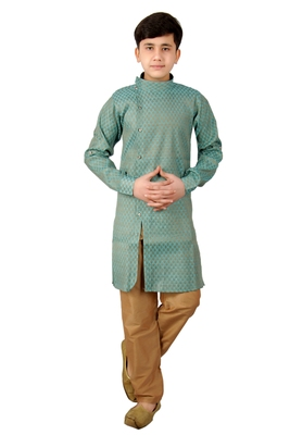 Blue brasso cotton silk boys-kurta-pyjama