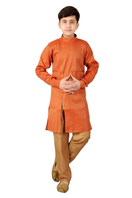 Orange brasso cotton silk boys-kurta-pyjama