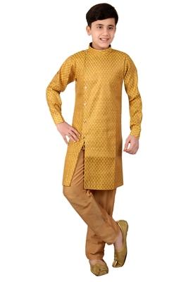 Yellow brasso cotton silk boys-kurta-pyjama