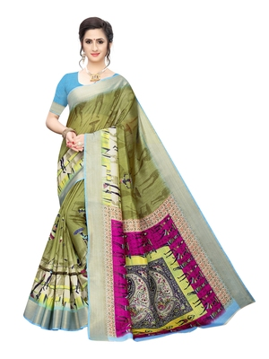 Olive printed chanderi silk saree with blouse