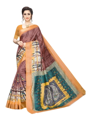 Purple printed chanderi silk saree with blouse