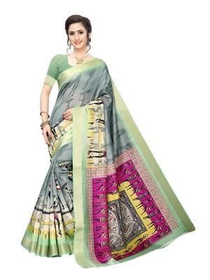 Grey printed chanderi silk saree with blouse