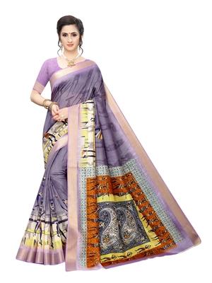 Purple printed chanderi silk saree with blouse