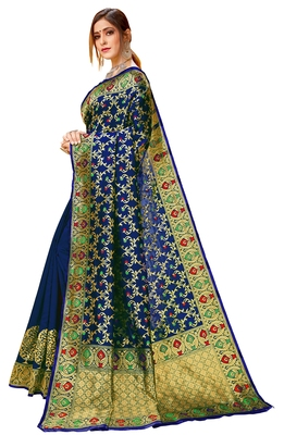 Navy blue woven cotton saree with blouse
