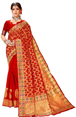 Red woven cotton saree with blouse