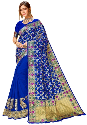 Royal blue woven cotton saree with blouse
