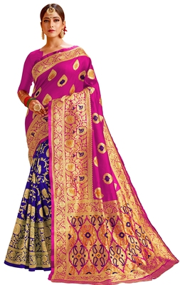 Multicolor woven cotton saree with blouse