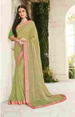 Green woven brasso saree with blouse