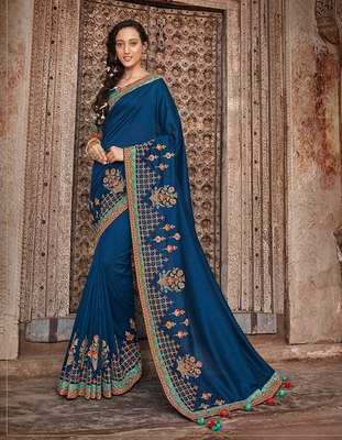 Blue embroidered dupion silk saree with blouse