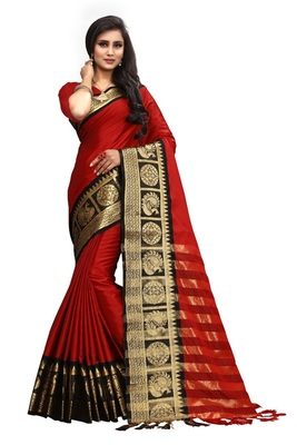 Dark blood red hand woven cotton saree with blouse