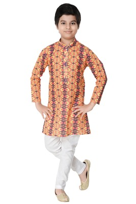 Multicolor printed cotton poly boys-kurta-pyjama