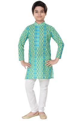 Green printed cotton poly boys-kurta-pyjama