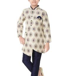 Blue woven cotton poly boys-indo-western-dress