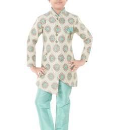 Green woven cotton poly boys-indo-western-dress
