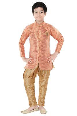 Orange woven cotton poly boys-indo-western-dress