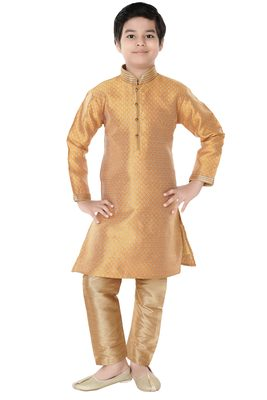 Gold woven cotton poly boys-indo-western-dress