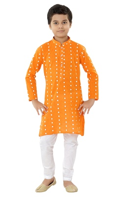 Orange plain cotton boys-kurta-pyjama