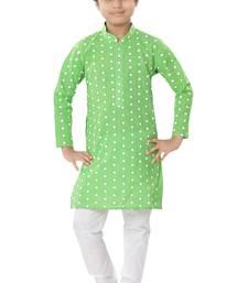 Green plain cotton boys-kurta-pyjama