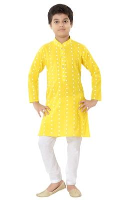 Yellow plain cotton boys-kurta-pyjama