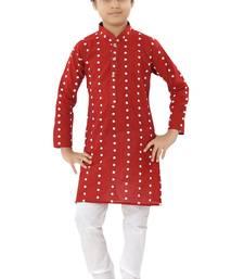 Red plain cotton boys-kurta-pyjama