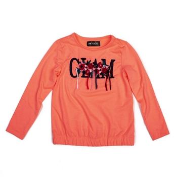 Orange printed cotton kids-tops
