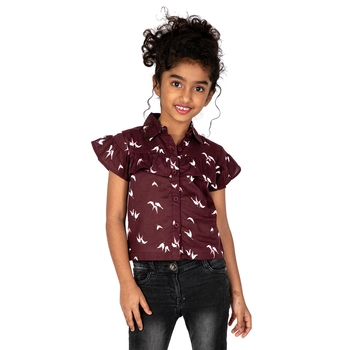 Multicolor printed cotton kids-tops