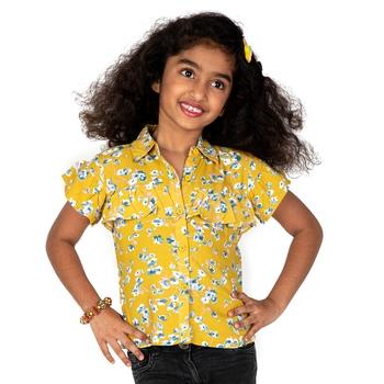 Yellow printed cotton kids-tops