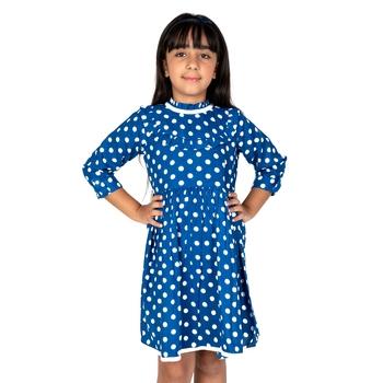 Blue printed cotton girls-dresses