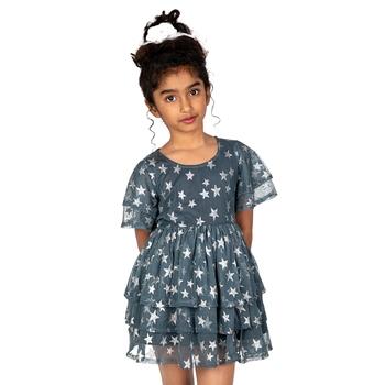 Grey printed polyester girls-dresses