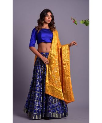 blue woven silk readymade-lehenga-cholis
