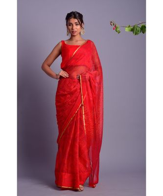 red printed bandhej chiffon saree with blouse
