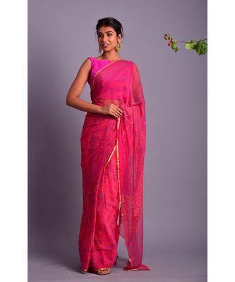 pink printed bandhej chiffon saree with blouse
