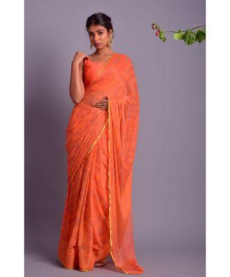 peach printed bandhej chiffon saree with blouse