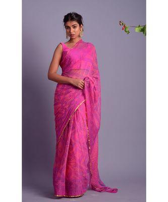 purple printed bandhej chiffon saree with blouse