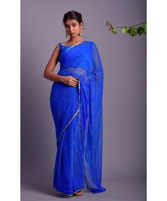 blue printed bandhej chiffon saree with blouse