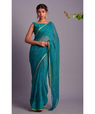 green printed bandhej chiffon saree with blouse