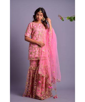 Light pink kurta gharara set