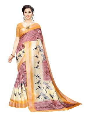 Rose printed art silk saree with blouse