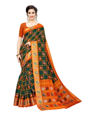 Green printed chanderi silk saree with blouse