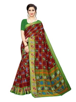 Maroon printed chanderi silk saree with blouse