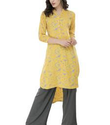 Women Yellow Printed rayon Straight Kurti