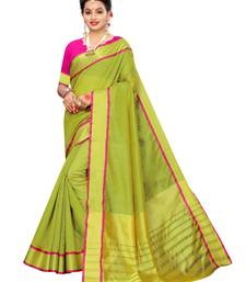 Olive Woven Chanderi Saree With Blouse