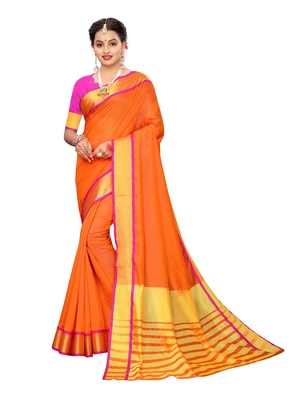 Orange woven chanderi saree with blouse