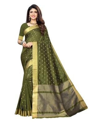 Mehendi woven chanderi silk saree with blouse